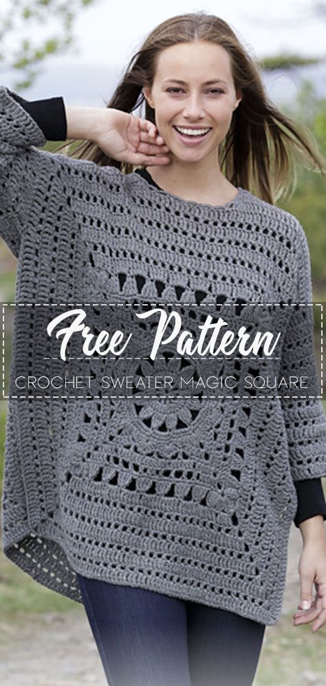 Crochet Sweater Magic Square – Free Pattern – Free Crochet #crochetclothes