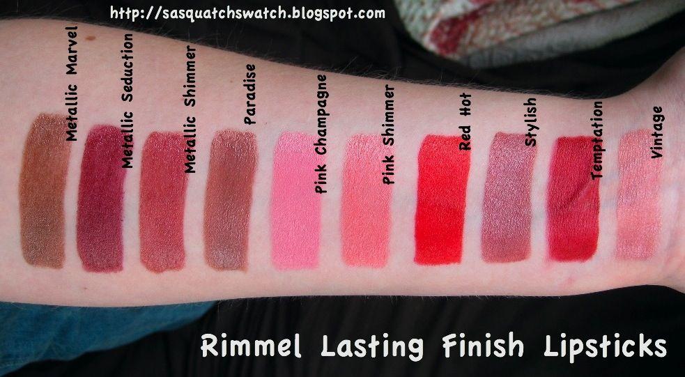 Rimmel Lasting Finish Lipsticks Swatch | Places to Visit ...