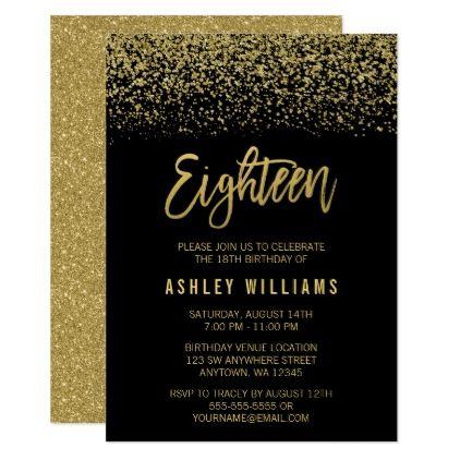 Modern Black Gold Faux Glitter 18th Birthday Invitation In 2018