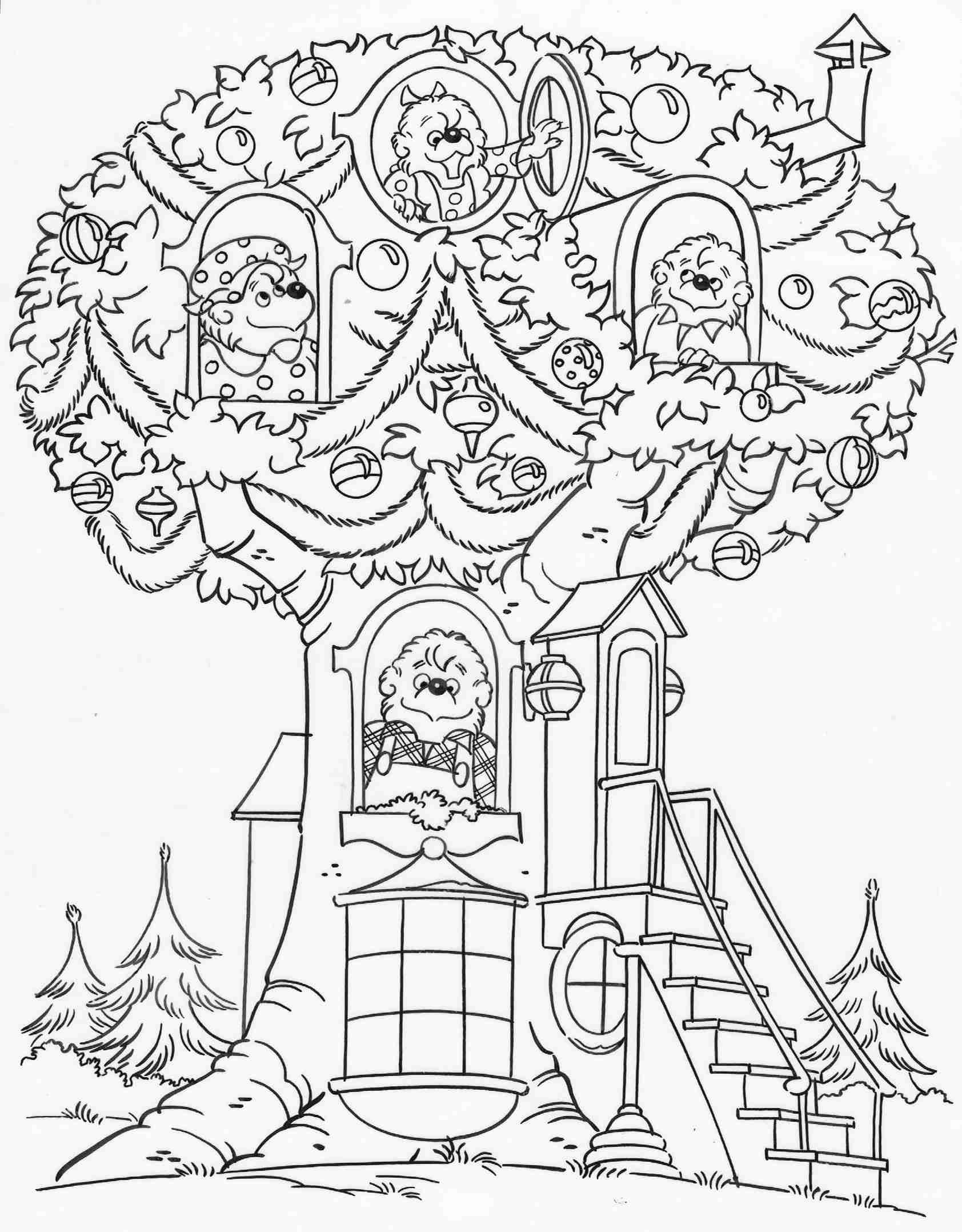 Elegant Berenstain Bears Coloring Pages In Free Coloring Kids With Berenstain Bears Bear Coloring Pages Teddy Bear Coloring Pages Christmas Tree Coloring Page