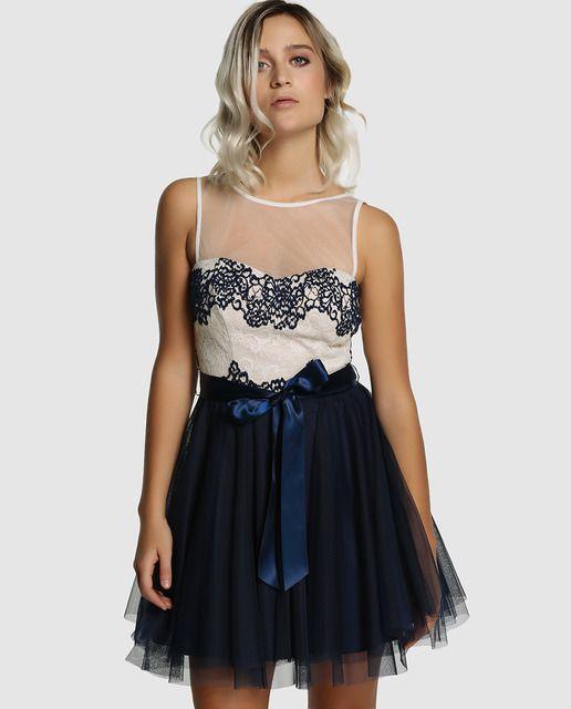 ee0c69f0ab4d Vestido corto, con falda de capas de tul en color azul marino y ...