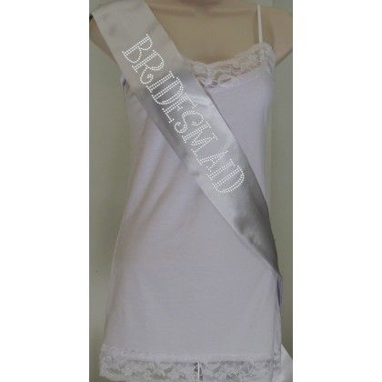 Rhinestone Bridesmaid 2 Sash - Silver with Crystal Rhinestones