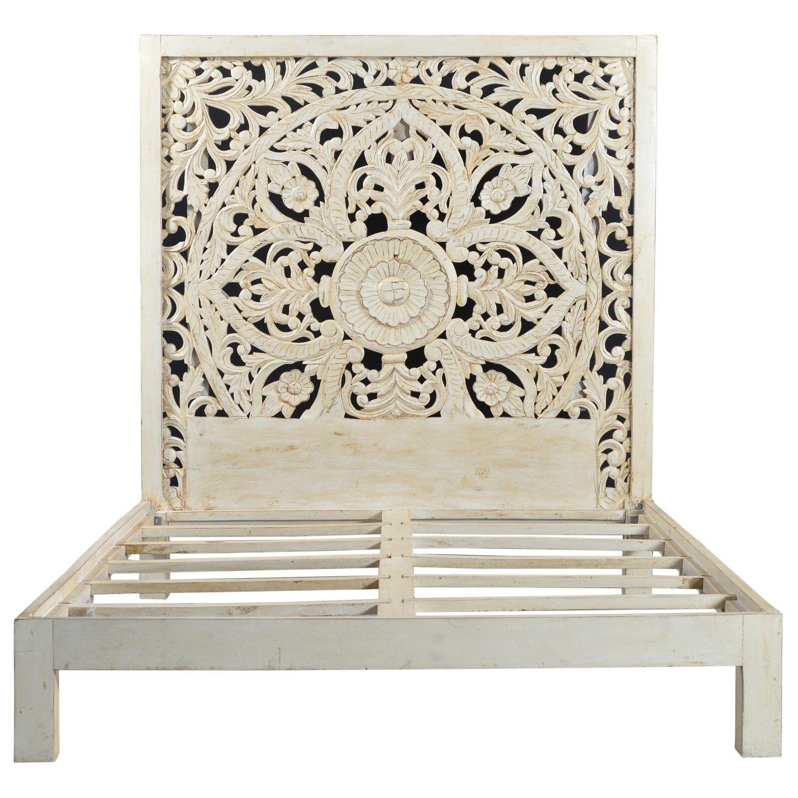 Corder Queen Platform Bed Queen Panel Beds Carved Headboard Wood Platform Bed