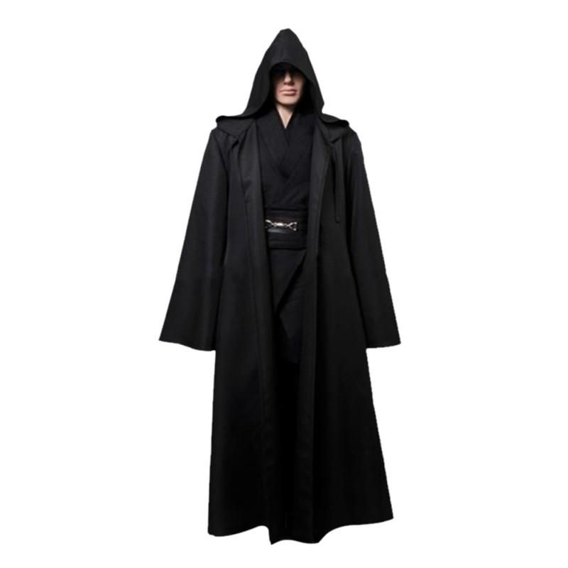 d094b82b7a Star Wars Jedi Cloak Hooded Robe Cloak Cape Dress Black Brown cosplay