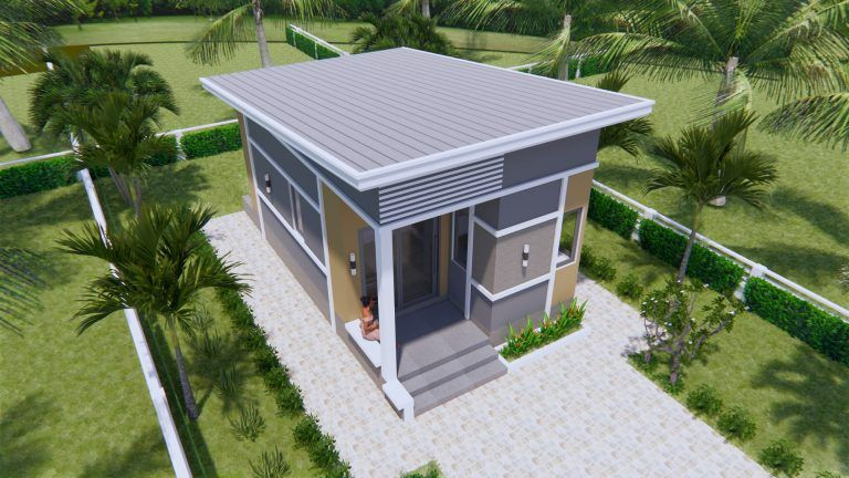 Small House Plans 4 5x7 5 With One Bedroom Shed Roof House Design 3d Small House Plans Small House Design House Design