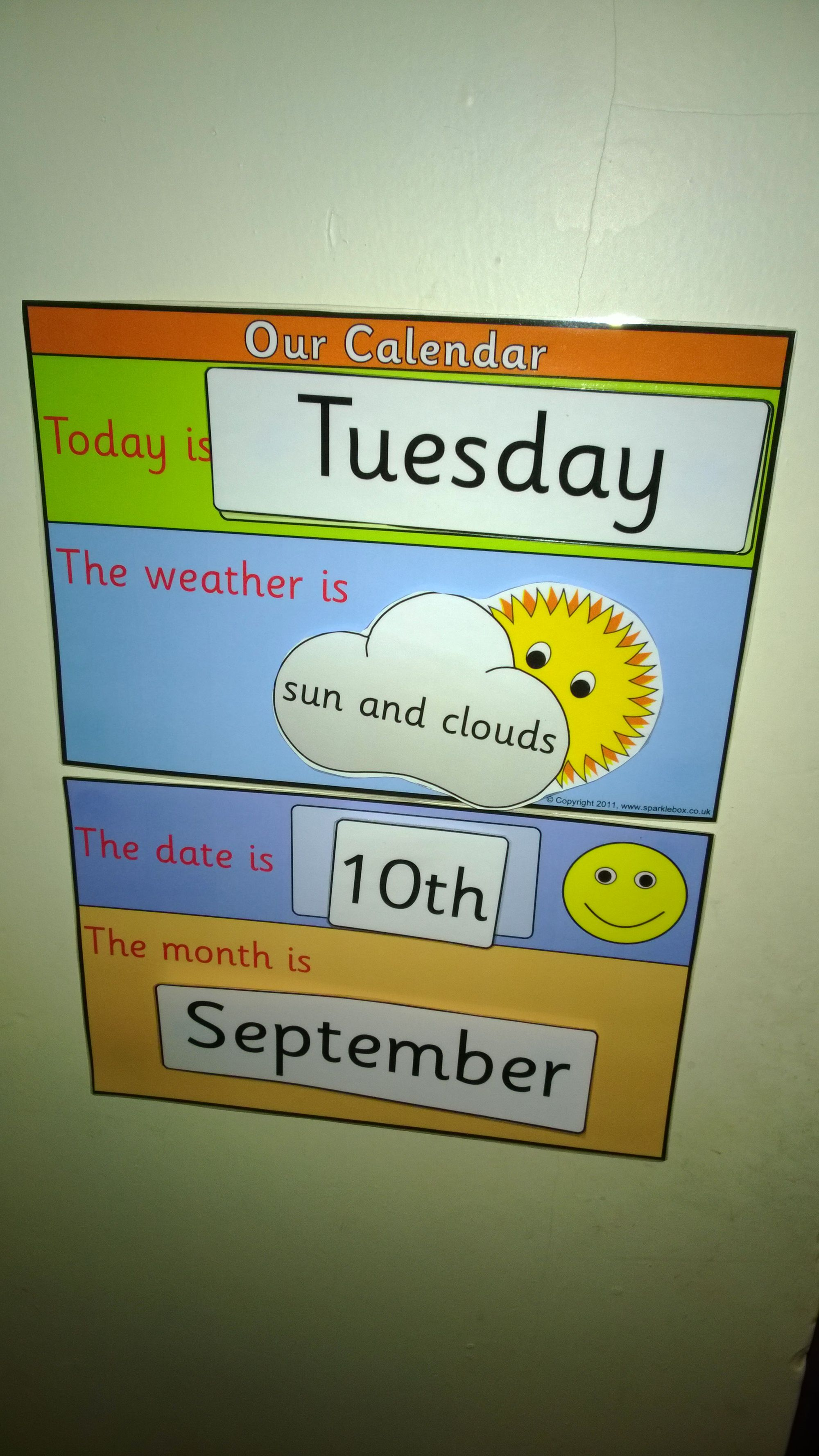 Calendar Display Ideas : Child friendly interactive date and weather display