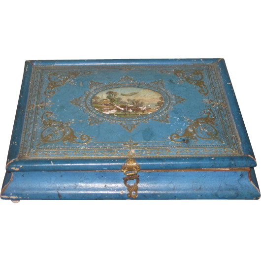 GORGEOUS Rare French Victorian Candy Container Chocolate Box for DOLL DISPLAY!