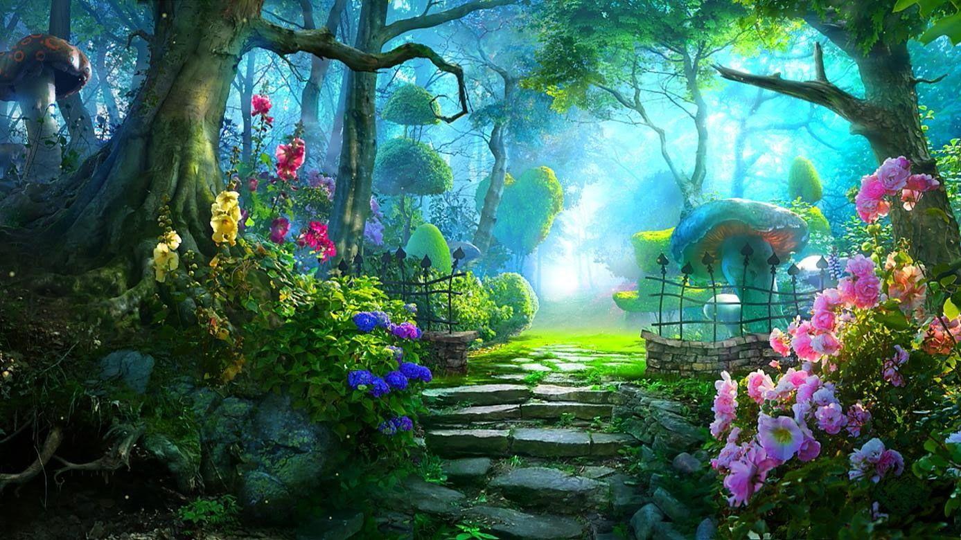 Image Result For Enchanting Garden Fantasy Landscape Fairy Garden Ideas Enchanted Forest Anime Scenery