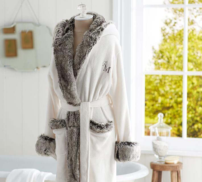 Cozy Fur Robe - Ivory/Gray Ombre