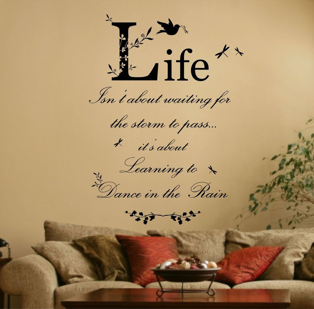 Dance in the Rain Quote, Vinyl Wall Art Sticker, Decal, Mural. Home ...