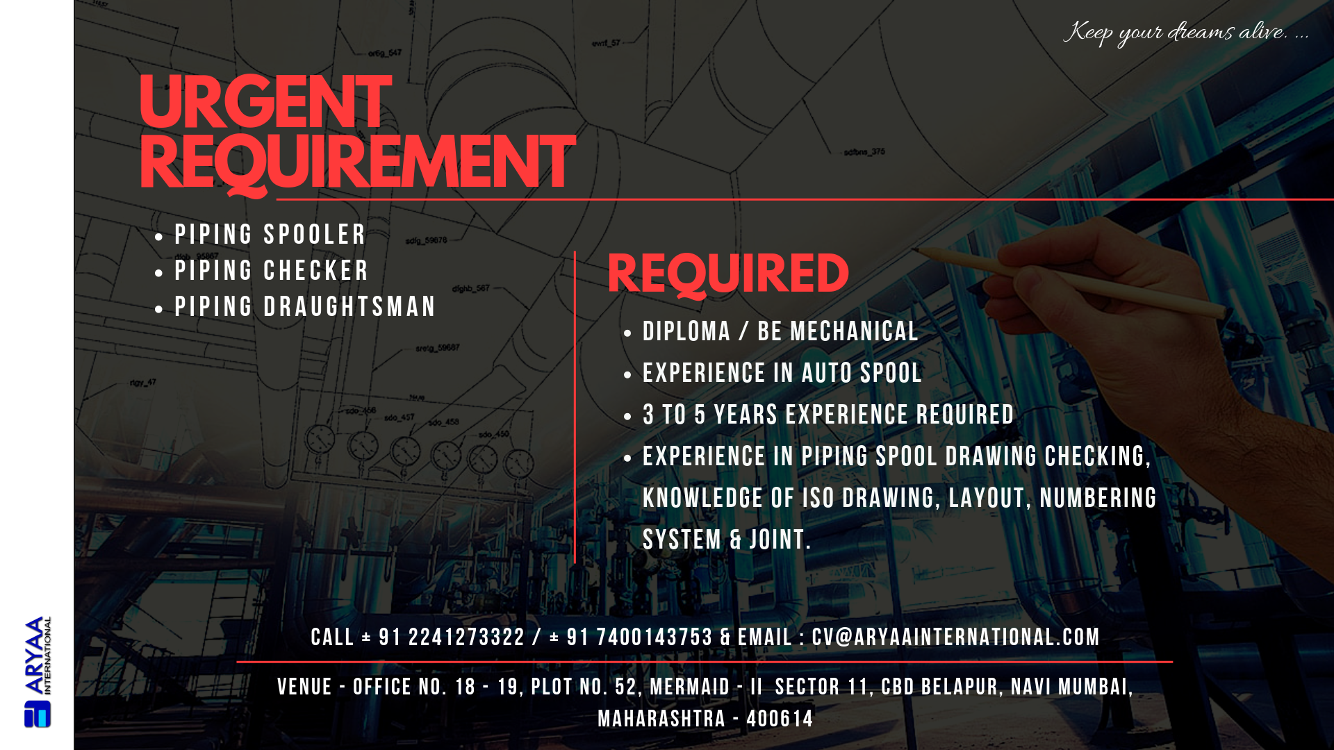 Urgent Requirement For Oman MNC Piping Spooler / Piping Checker