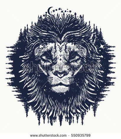 Lion In The Night Sky Tattoo Symbol Travel Tourism Adventure