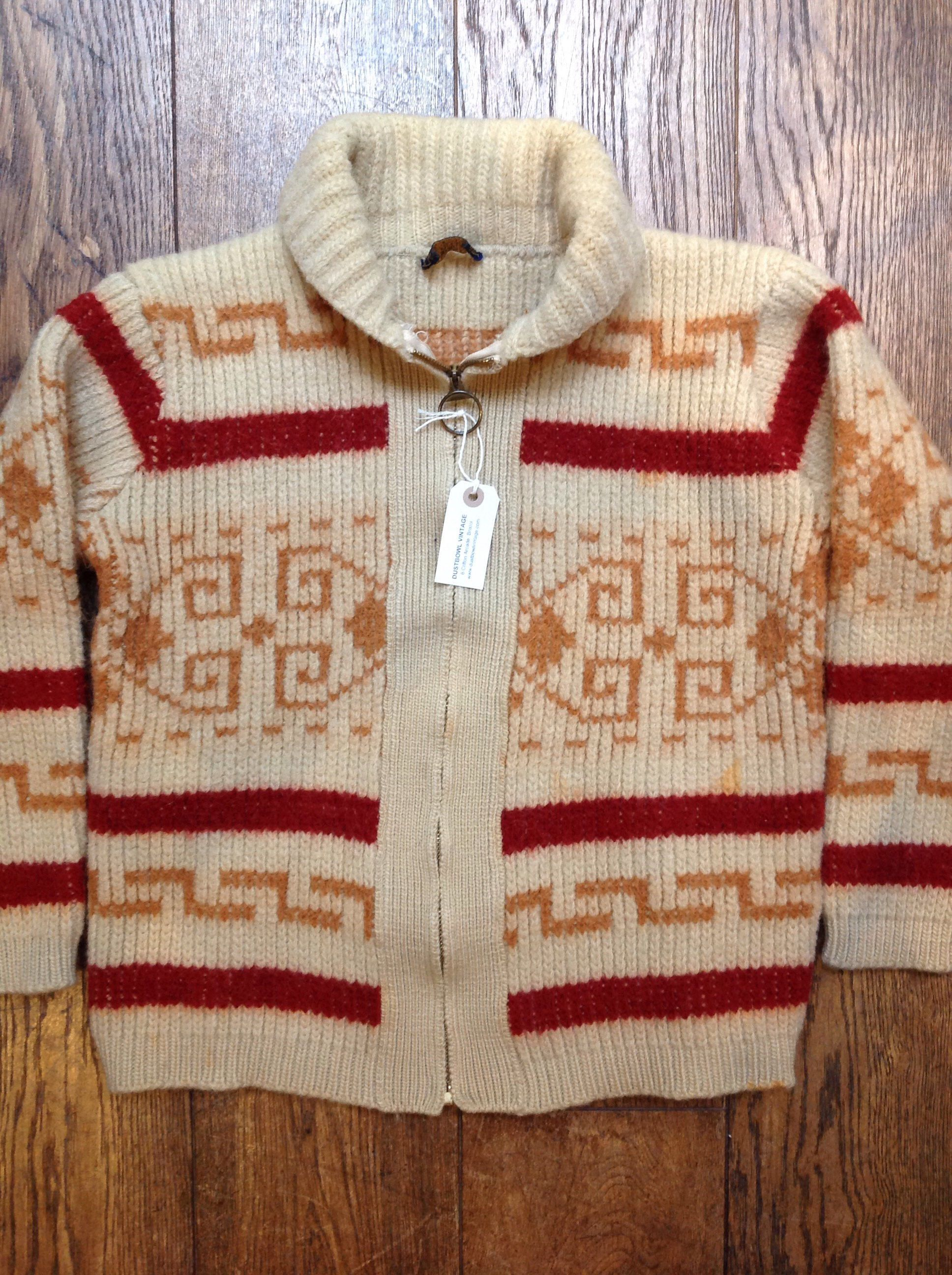 Vintage 1970s 70s orange red Pendleton Westerley cowichan sweater ...