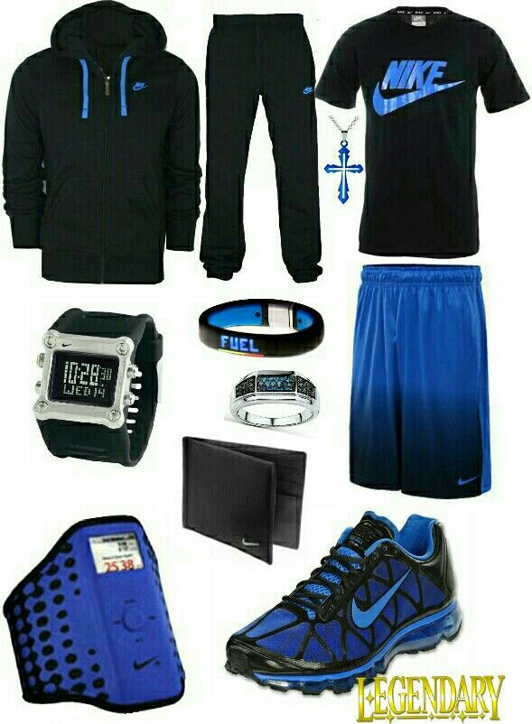 7ee2cf20403a Men s fashion blue and black nike outfit More