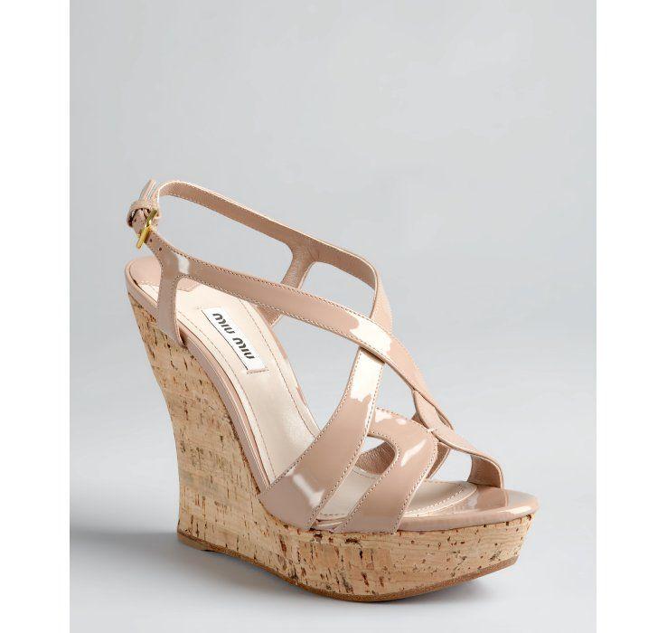 15e7a9e57865 Miu Miu nude patent leather cork wedge sandals