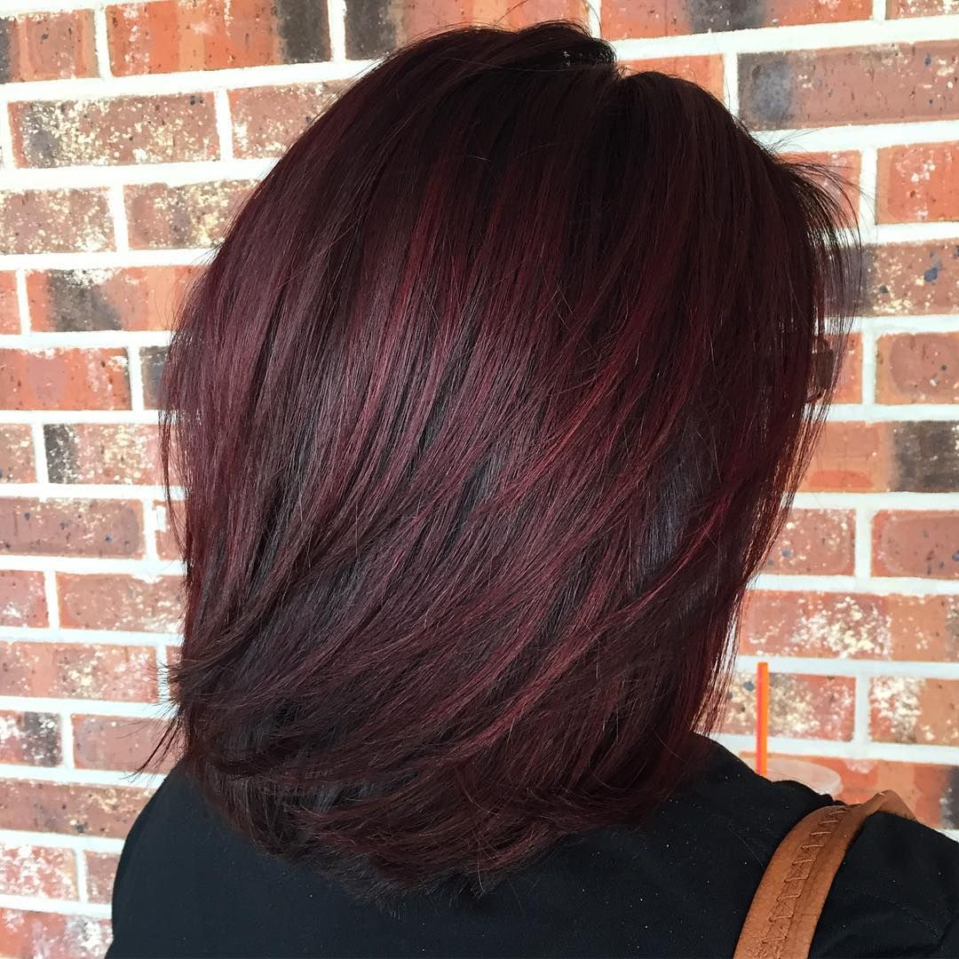 layered lob for black hair with burgundy balayage | medium