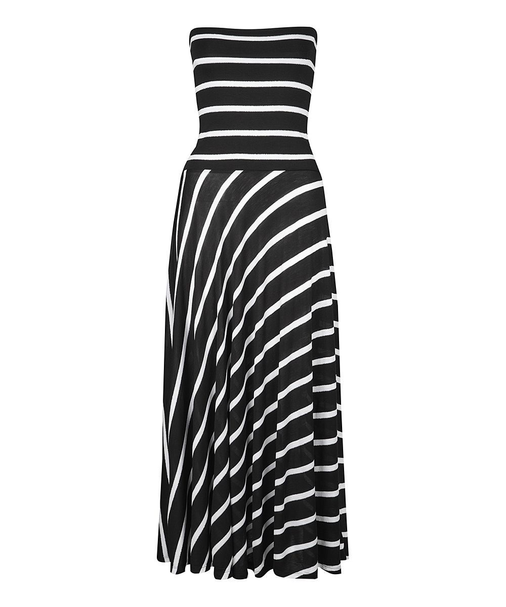 6e497b502c2f Look at this Dex White & Black Stripe Convertible Maxi Dress on #zulily  today