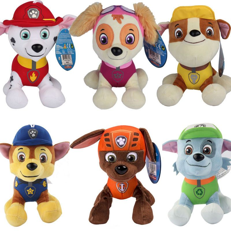 20cm Canine Patrol Dog Anime Doll Toy Cartoon Plush Doll Dog Car