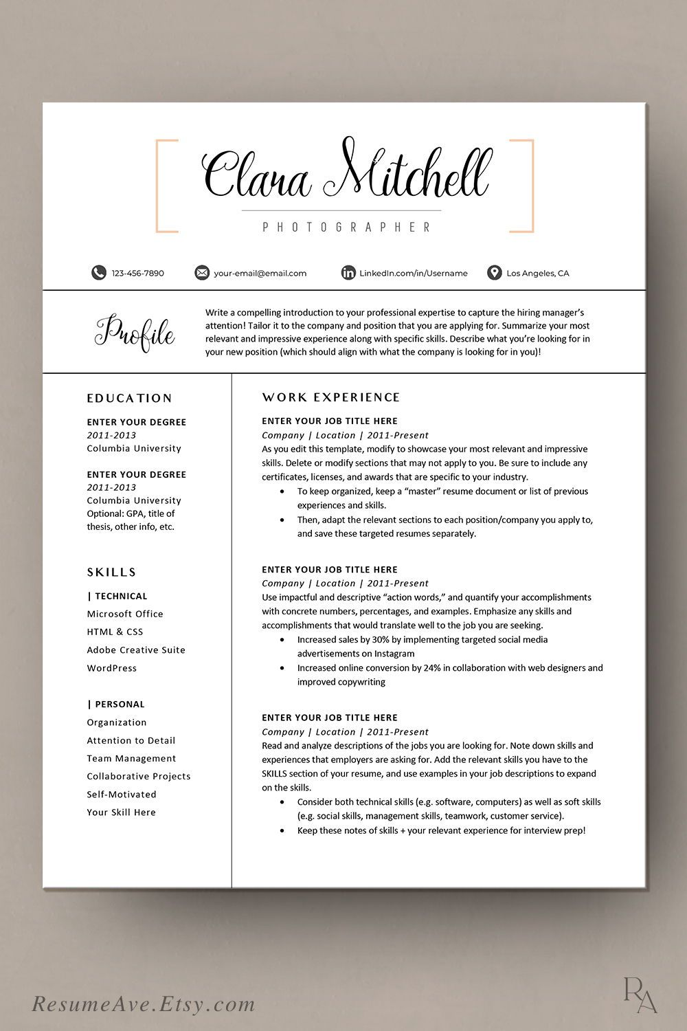 Orange CV template professional teacher resume template