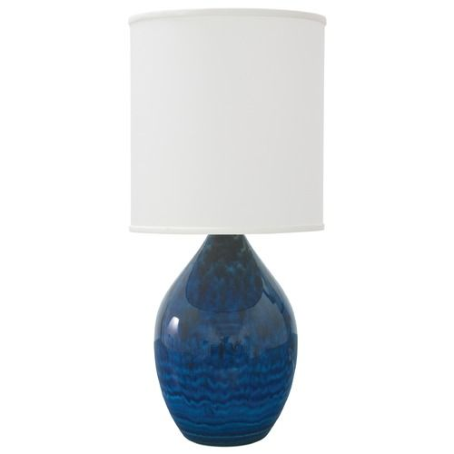 House of troy scatchard midnight blue table lamp with cylindrical shade