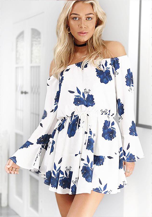 d434f037d70d New Women Floral Print Off Shoulder Short Mini Dress Ladies Summer Holiday  Dress