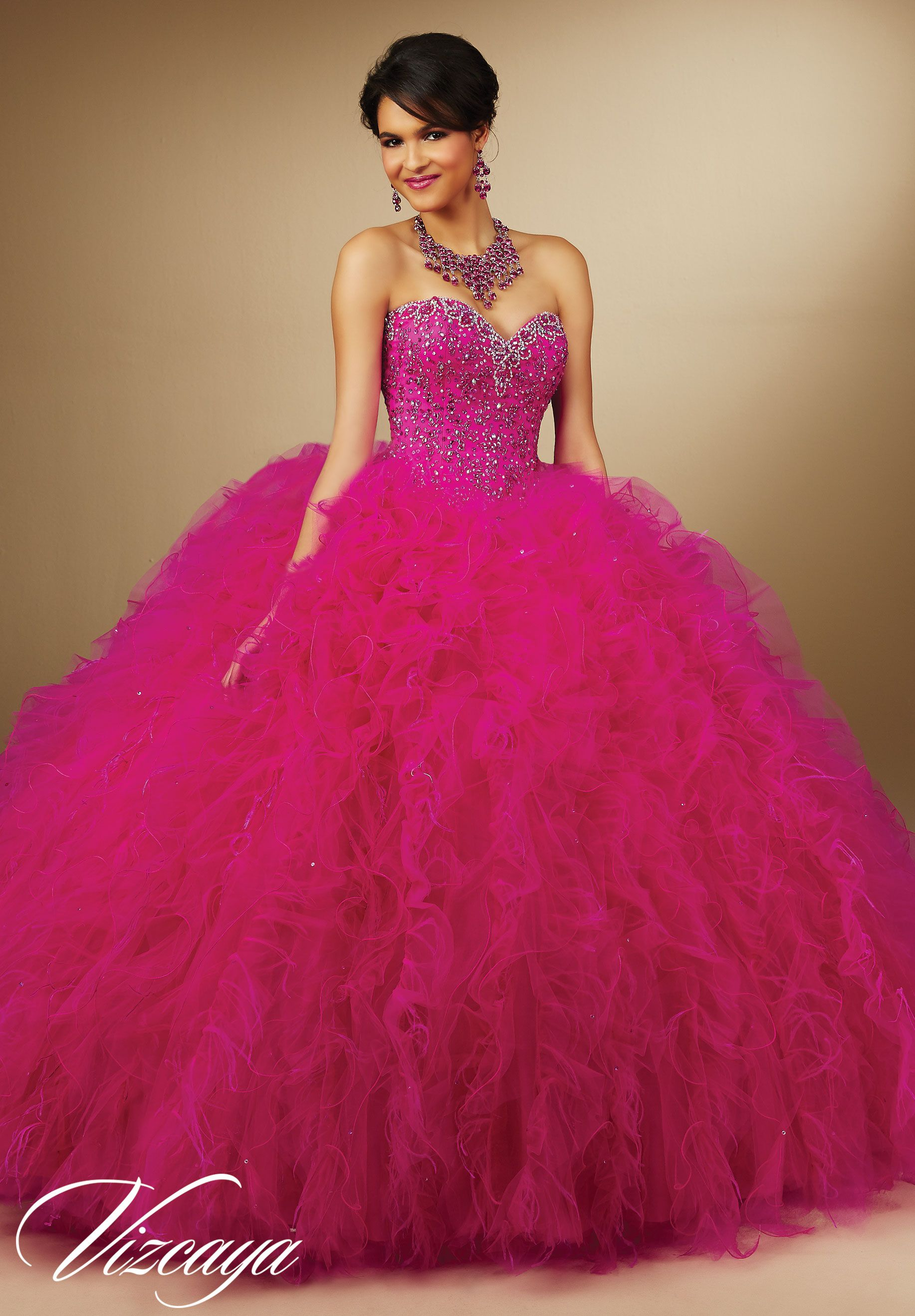 Pink Embroidery and Beading Ruffled Tulle Feathers Quinceanera Dress ...