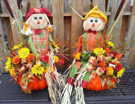 Custom Fall Door Entrance Decor, Scarecrow Front Door Topiaries, Harvest Urns, Fall Pumpkin Arrangement Home Decor, Door Wreath