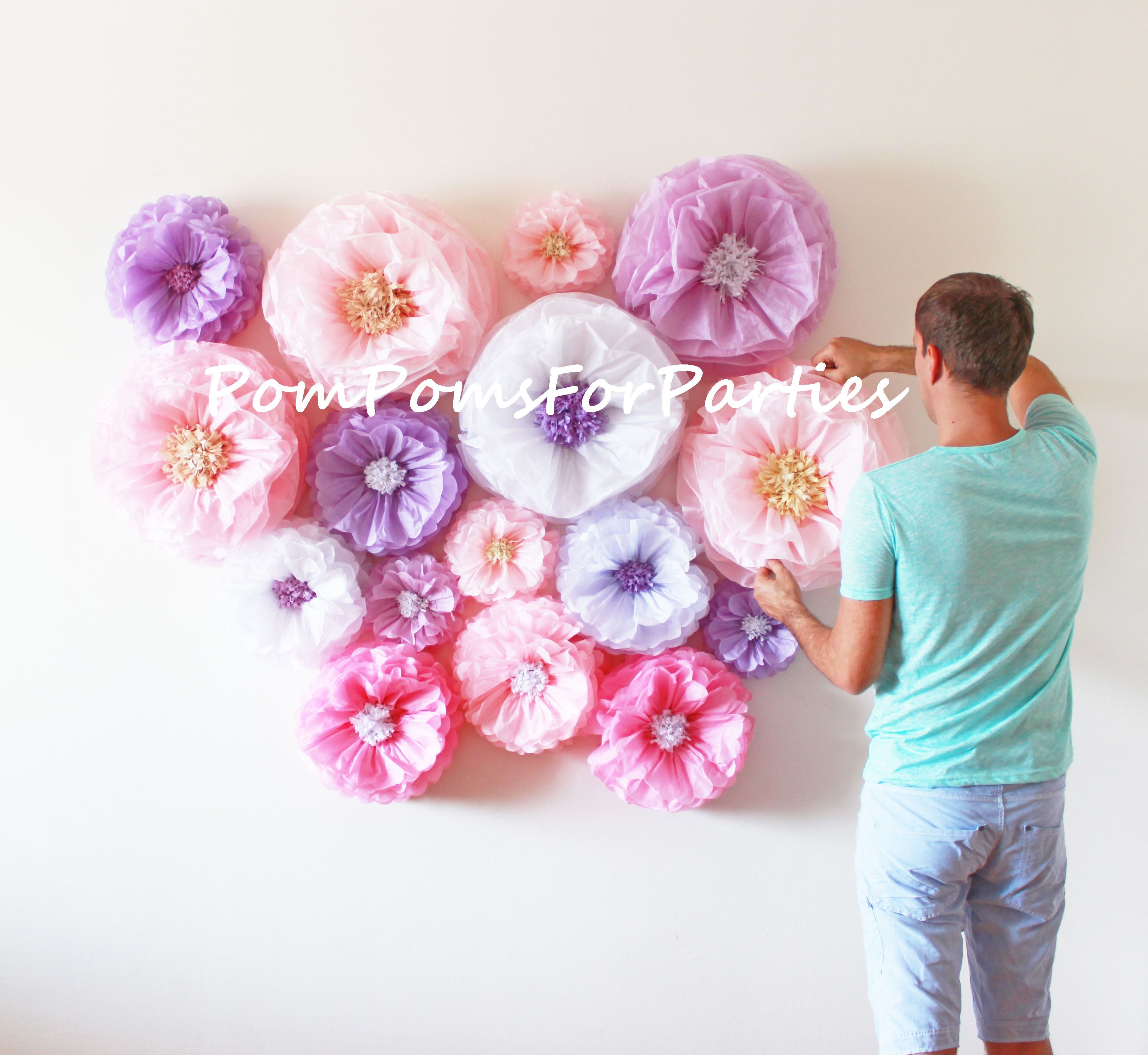 Amazing Flower Backdrop Wall Oversized Mixed Size Paper Flowers