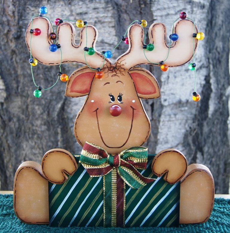 Comet the Reindeer with Present and Lights by Cherables on Etsy, $25.75