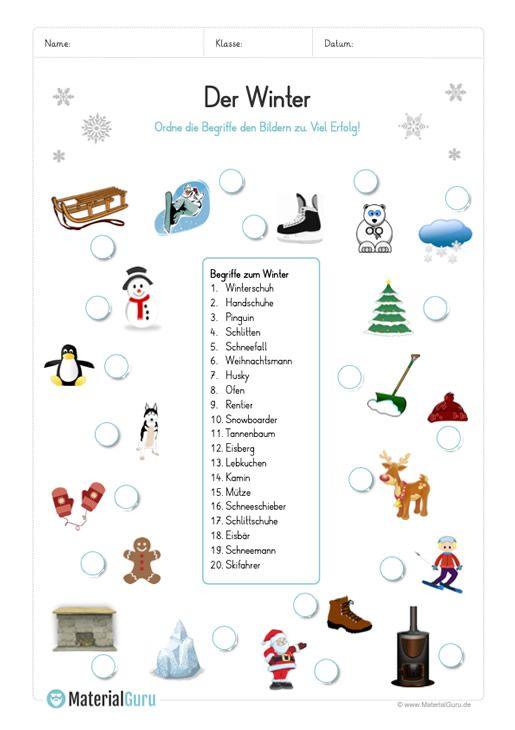 arbeitsblatt 20 winter begriffe abbildungen zuordnen lesen lernen kindergarten learn. Black Bedroom Furniture Sets. Home Design Ideas