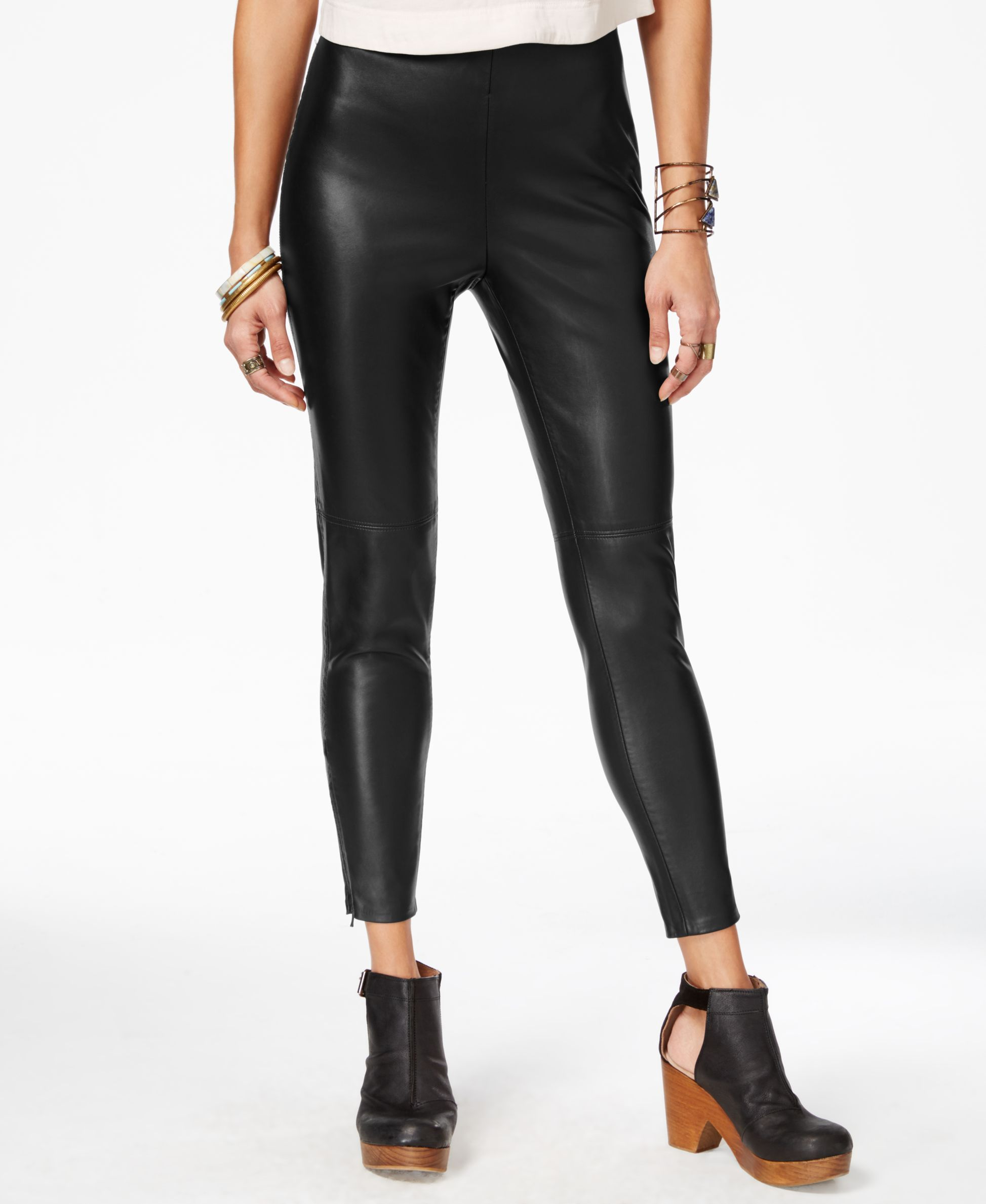 c72b6e939fe334 Free People Faux-Leather Zip-Detail Leggings | Products | Faux ...