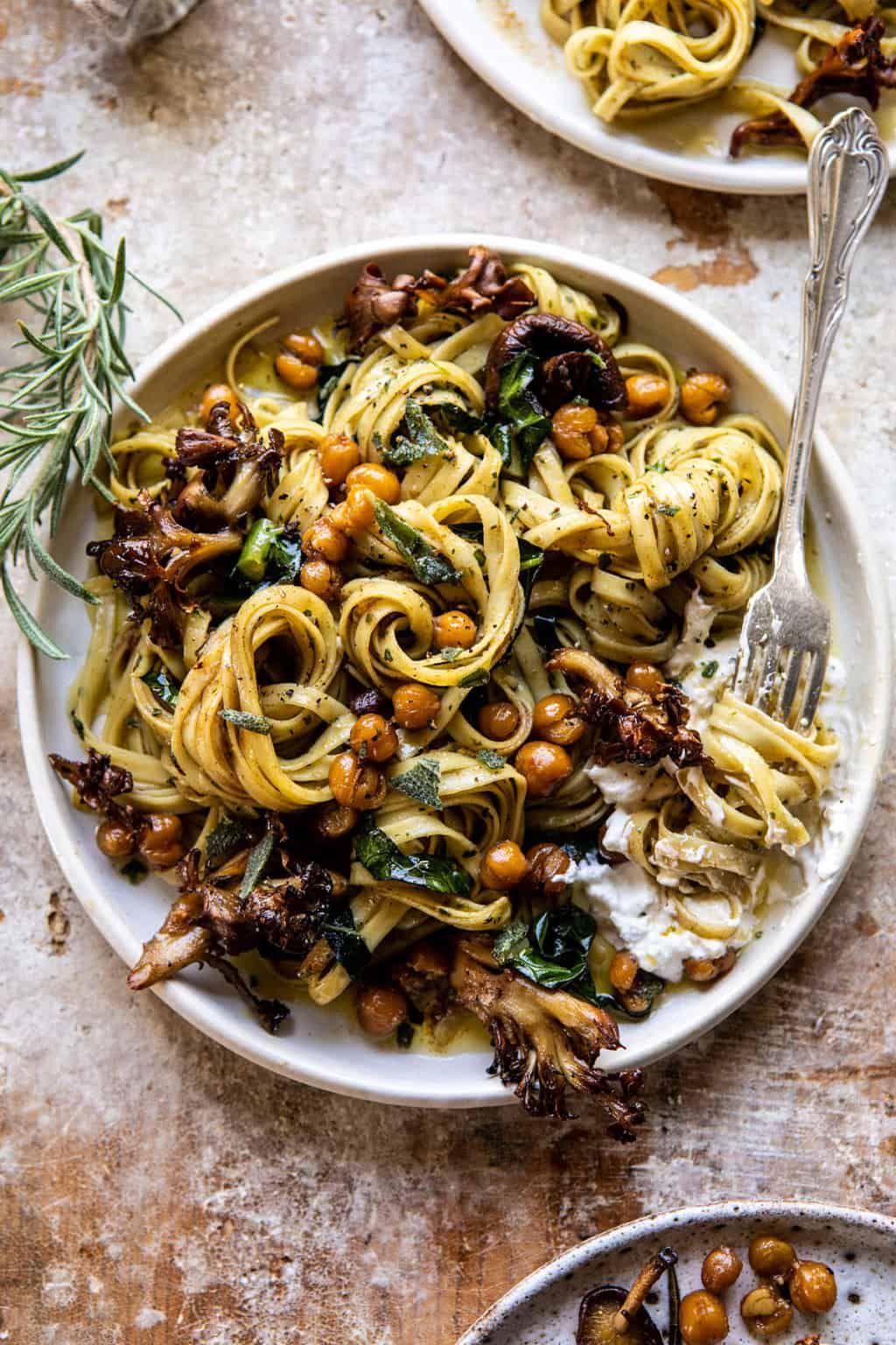 Slow Roasted Mushroom Pasta with Crisp Rosemary Chickpeas. - Half Baked Harvest