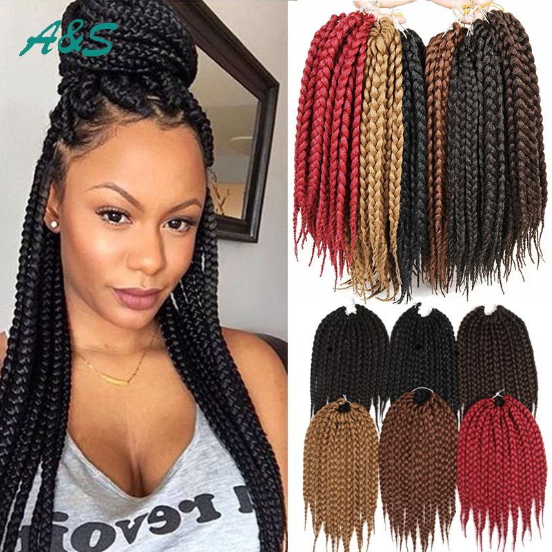 Find More Bulk Hair Information About 12 Box Braids Hair Crochet Braids Xpression 80g Pack Syntheti Expression Braiding Hair Crotchet Braids Braided Hairstyles