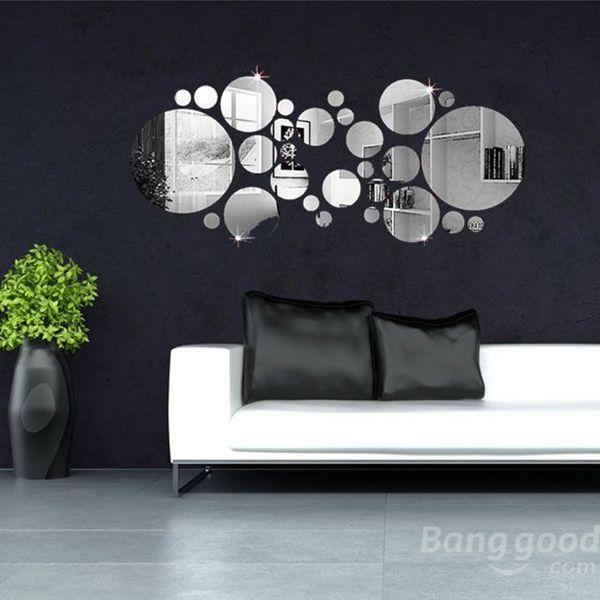 Us 4 81 30pcs 3d Circle Mirror Wall Stickers Acrylic Vinyl Decal