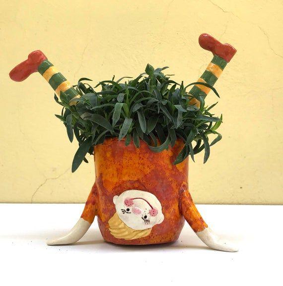Ceramic Planter, Ceramic Pot, Funny Girl, Orange, Yellow, Green