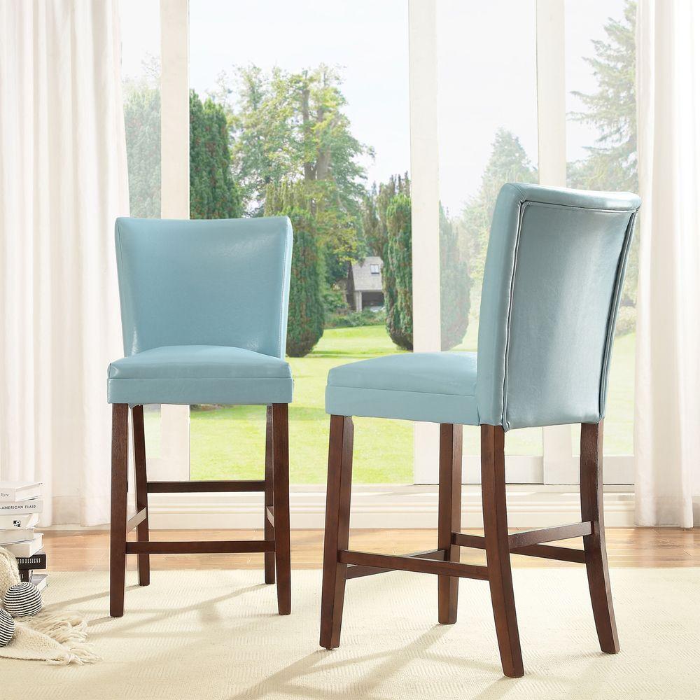 Tribecca Home Estonia Sky Blue Upholstered Counter Stools (Set of 2 ...