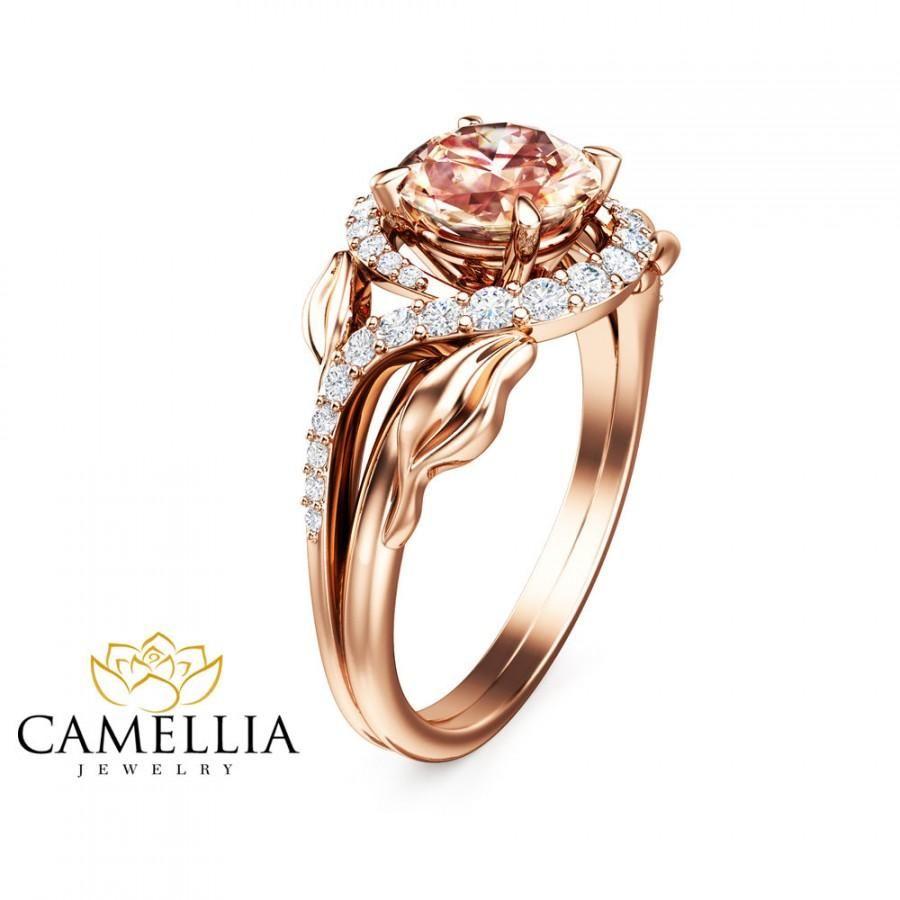 14k Rose Gold Morganite Engagement Ring Unique Leaf Design