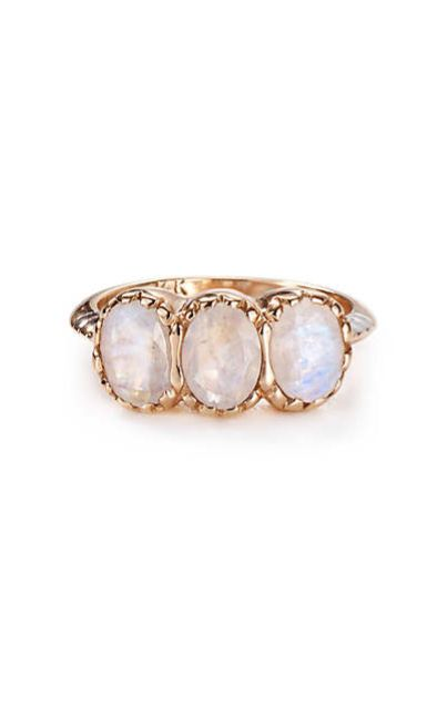 Moonstone Trinity Ring in 14k Rose Gold #anthrofave