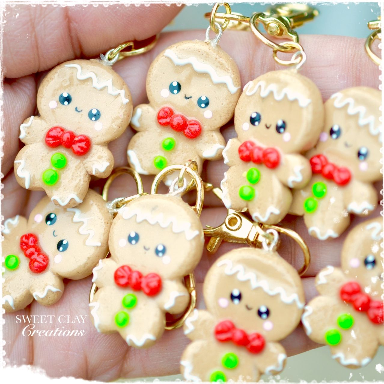 Fimo Fiore98j.Ginger Bread Man Kawaii Charm Pendant Necklace Polymer Clay