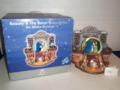 DISNEY BEAUTY AND THE BEAST MUSIC SNOWGLOBE PLAYS THERE'S SOMETHING THERE