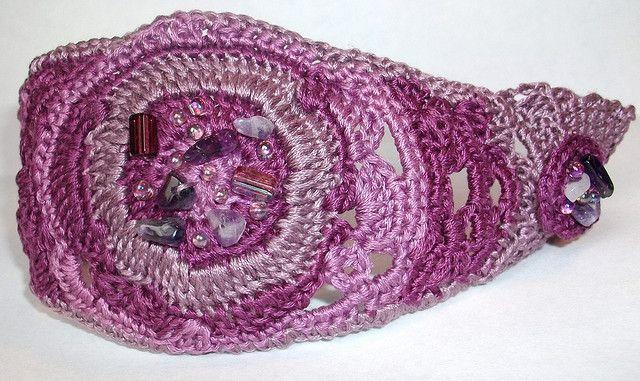REINA DE LAS VIOLETAS Freeform Crochet Cuff Bracelet  by anadiazarte, via Flickr