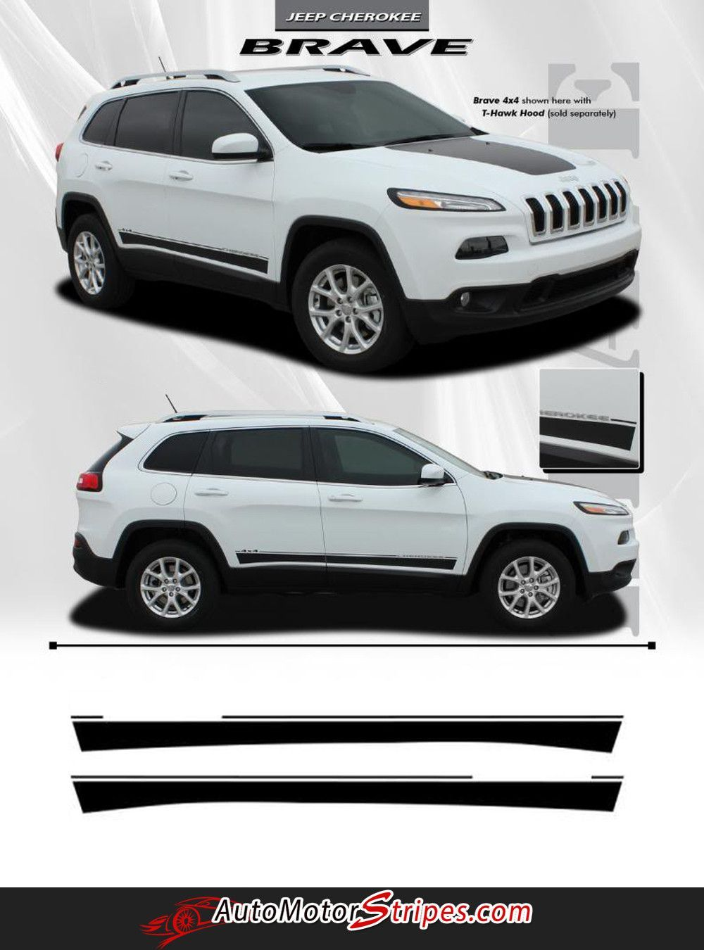 2014 2016 Jeep Cherokee Brave Lower Rocker Panel Accent Vinyl Decal Graphic 3m Stripes Jeep Cherokee Classic Jeeps Jeep