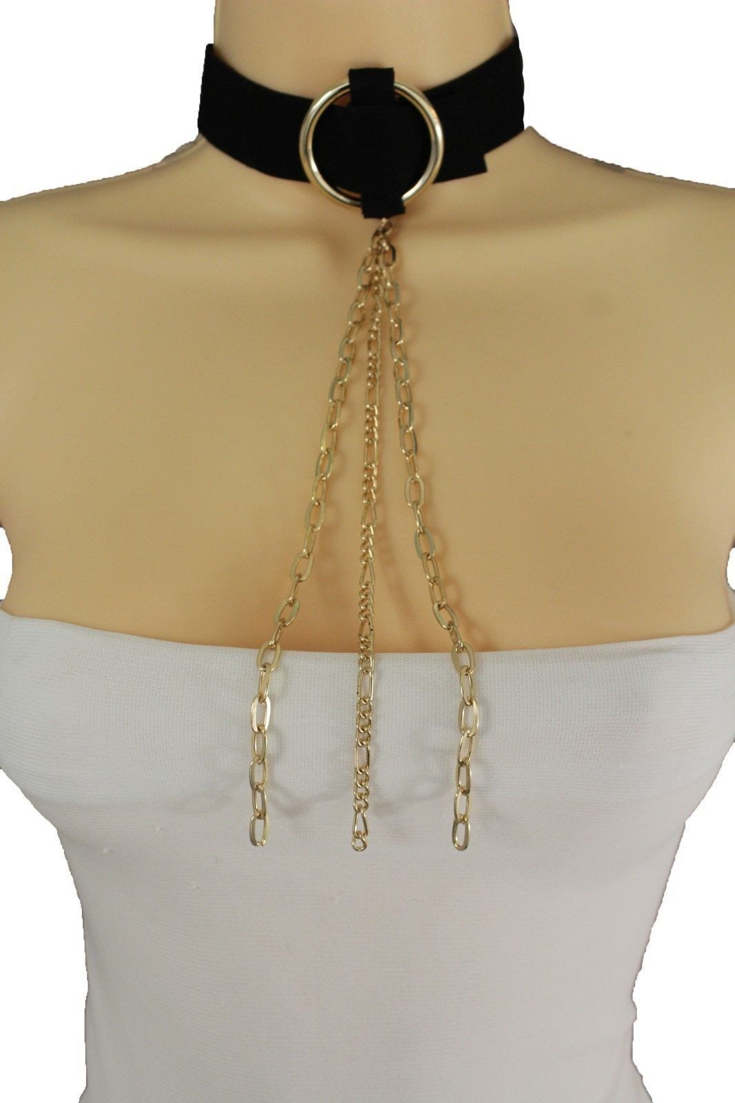 Black brown faux suede leather strap gold metal long chain fringes