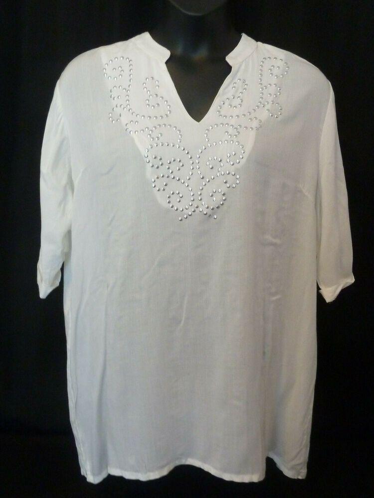 Company One White Silver Beaded Short Sleeve Blouse Size Xxl Fashion Clothing Shoes Accessories Wome Short Sleeve Blouse Shirts Women Fashion Loose Blouse