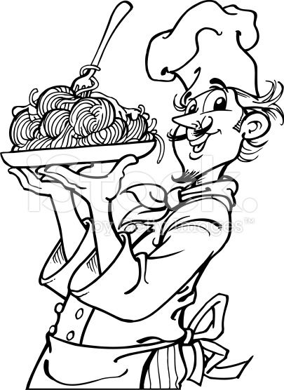italian food coloring pages | An a vector illustration of cook with spaghetti. | summer ...