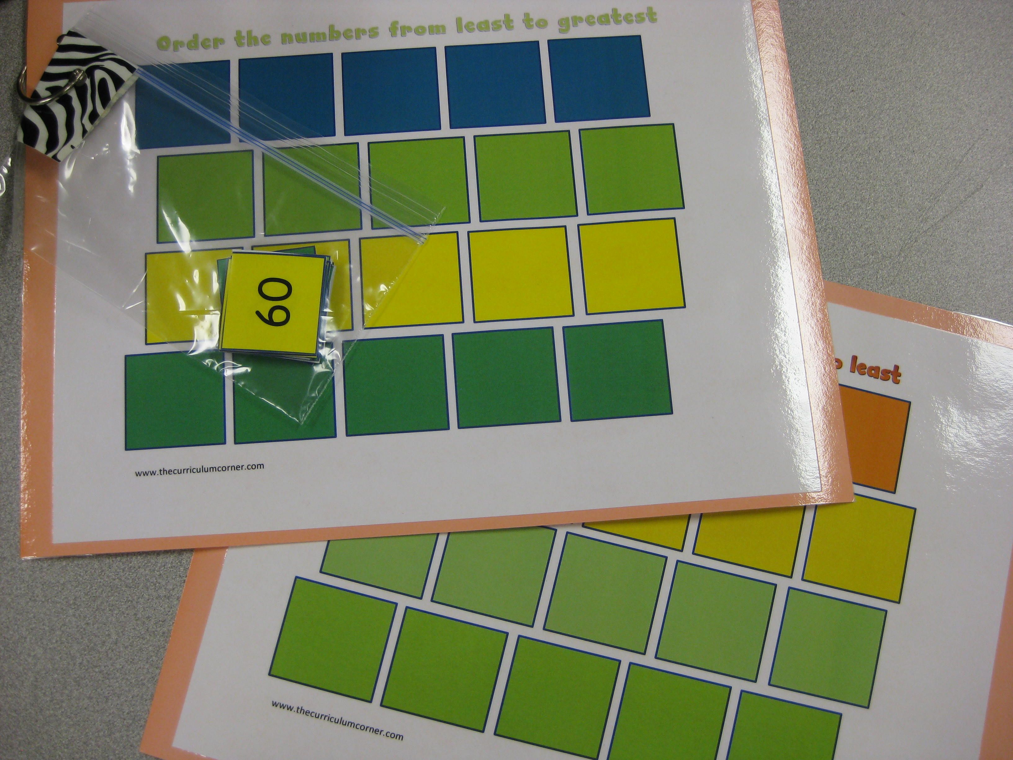 Ordering Numbers Work Mats