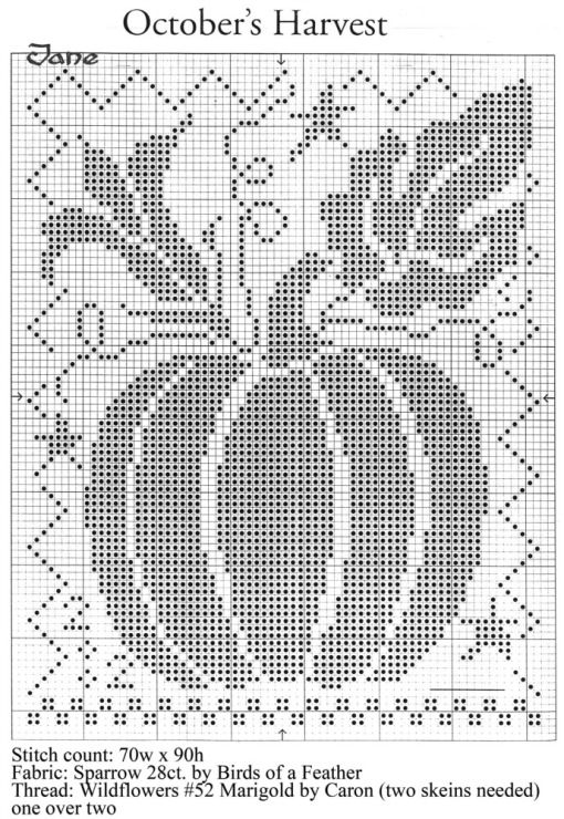 CROSS STITCH AUTUMN PUMPKIN | Cross Stitch Patterns | Pinterest ...