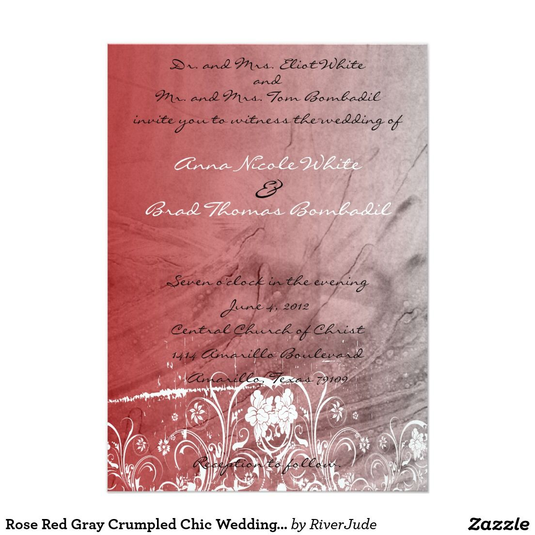 Rose Red Gray Crumpled Chic Wedding Invitation   Projects to Try ...