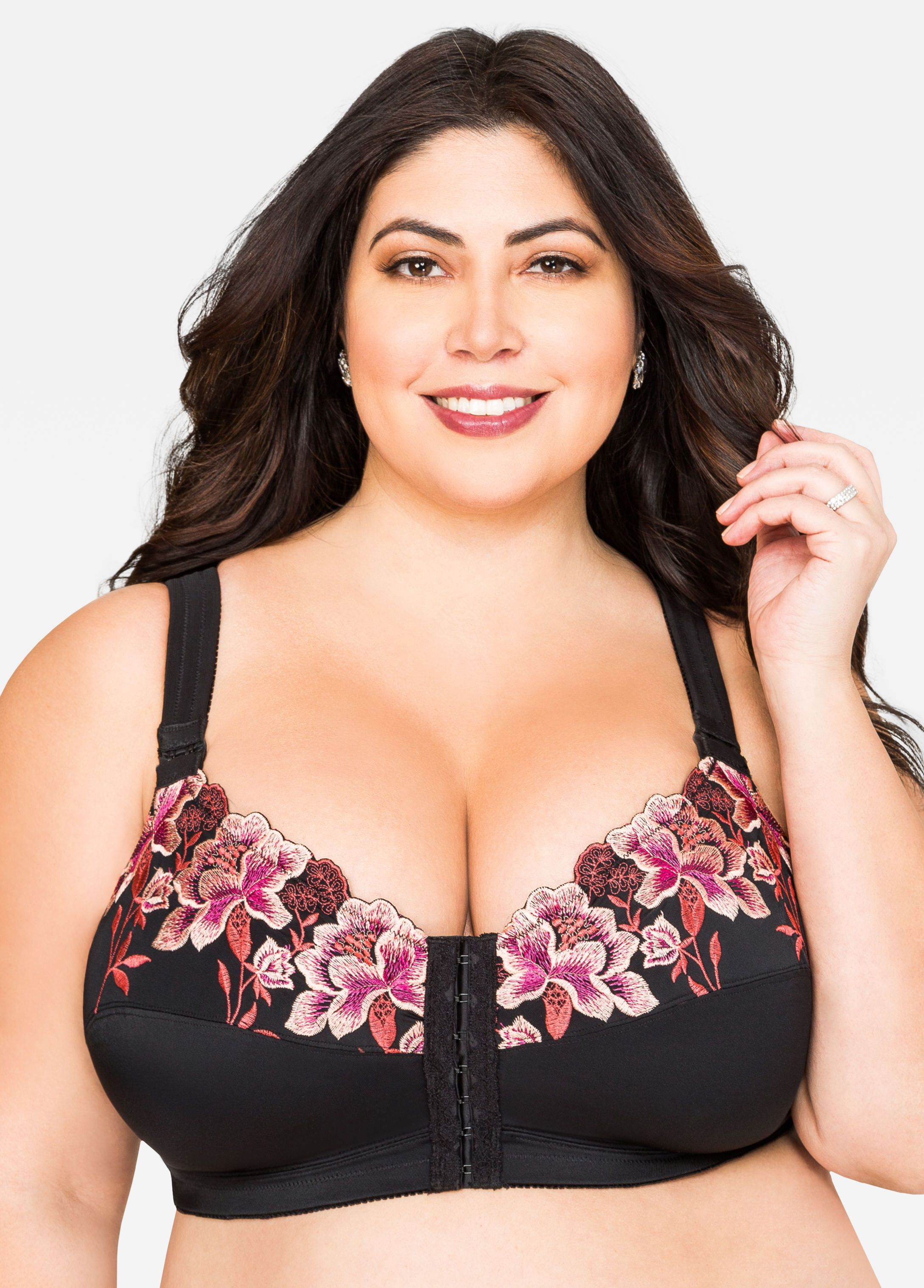 c1755a25b9f Plus Size Lace Plunge Butterfly. Full Coverage Soft Cup Posture Bra - Ashley  Stewart