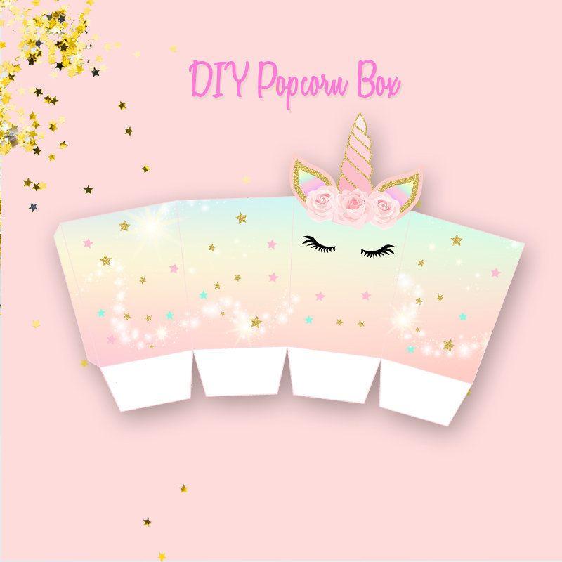 Printable Unicorn Popcorn Box Unicorn Birthday Diy Popcorn Etsy Diy Popcorn Unicorn Birthday Parties Popcorn Box